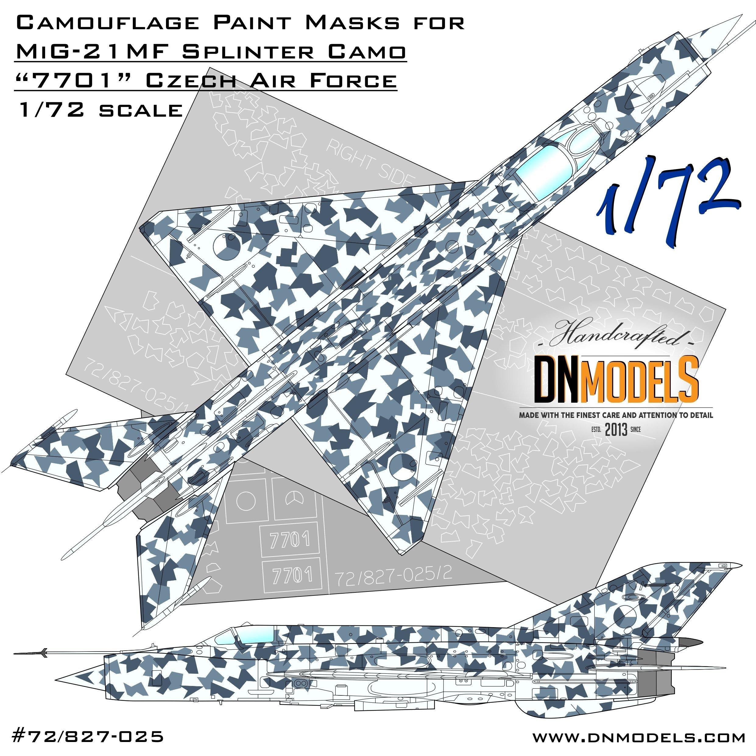 Czech Splinter camouflage paint masks for Czech Air Force MiG-21MF #7701 1:72 1/72