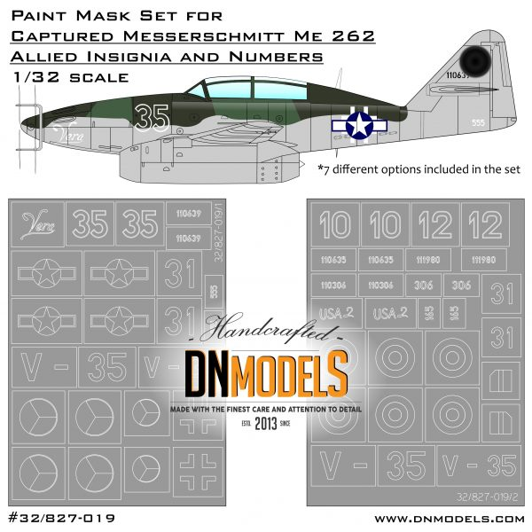 Captured Messerschmitt Me-262B Allied Insignia & Numbers Paint Mask Set 1:32 DN Models