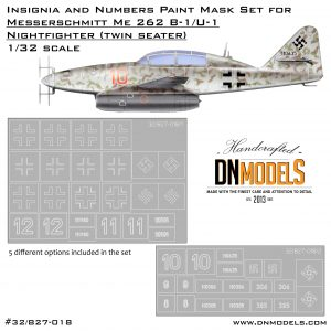 Messerschmitt Me-262 B-1/U-1 Insignia & Numbers Paint Mask Set 1/32 1:32 Luftwaffe Night Fighter