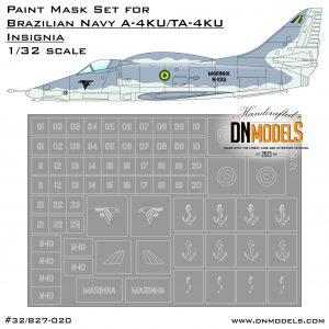 Brazilian MARINHA A-4KU TA-4KU Skyhawk Insignia & Numbers Paint Mask Set 1/32 Brazilian NAVY