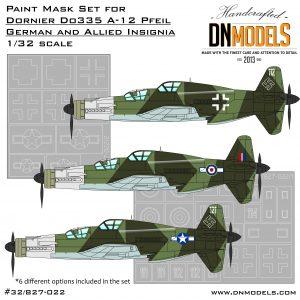 dornier do-335 a-12 german allied insignia dn models masks for scale models 1/32 zoukei mura hk models