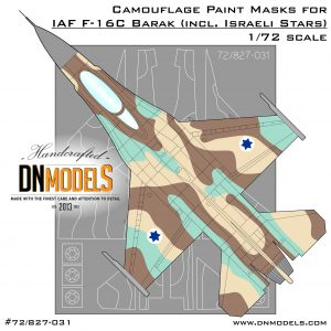 Camouflage Paint Masks for F-16C Barak, Israeli Stars Stencils Included 1/72