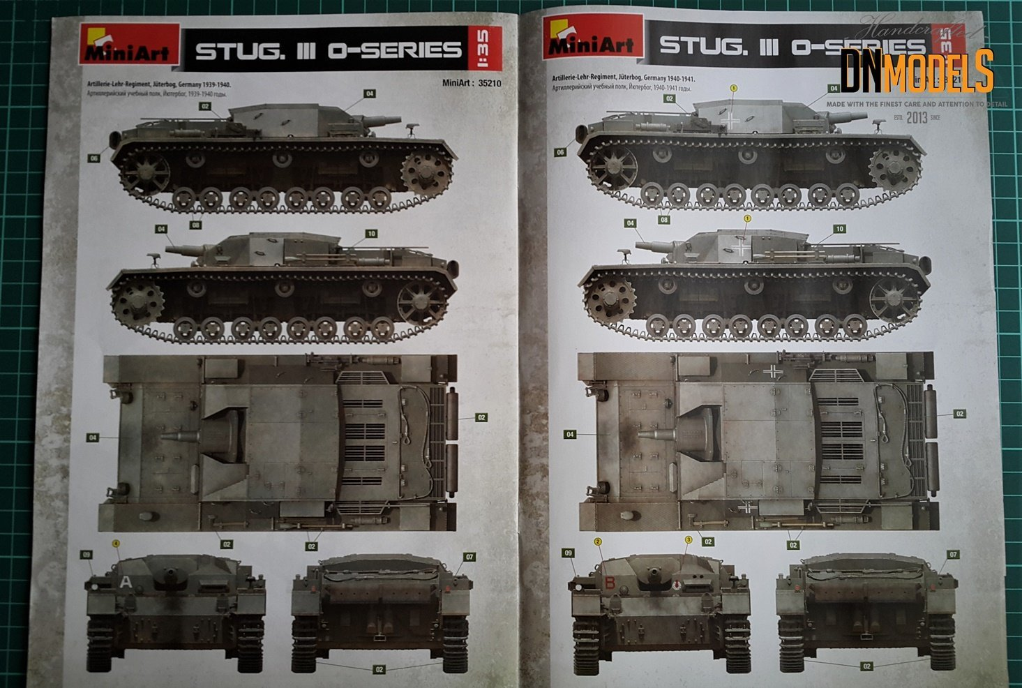 StuG III 0-series Miniart 35210 Unboxing Review DN Models Masks for Scale Models color II