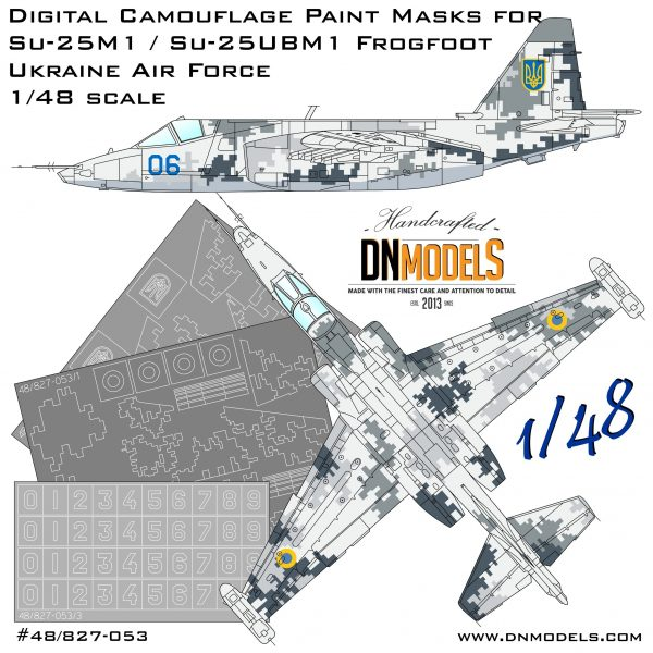 Su-25M1 / Su-25UBM1 Frogfoot Ukrainian Digital Camo Paint Mask Set 1/48 dn models masks for scale models