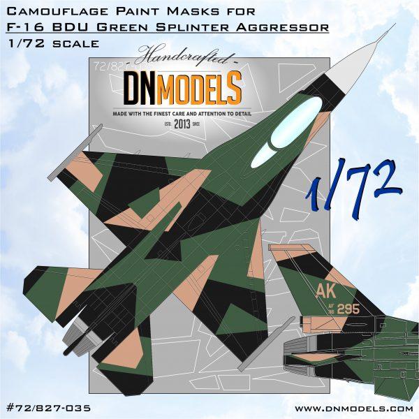 F-16C Green BDU Splinter 1/72 aggressor masks for scale models dn models