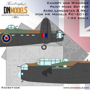 Avro Lancaster B Mk.I Canopy and Windows Paint Mask Set 1/32 dn models masks for scale models