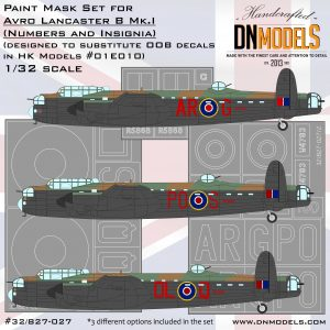 Avro Lancaster B.Mk.I Insignia and Numbers Paint Mask Set 1/32