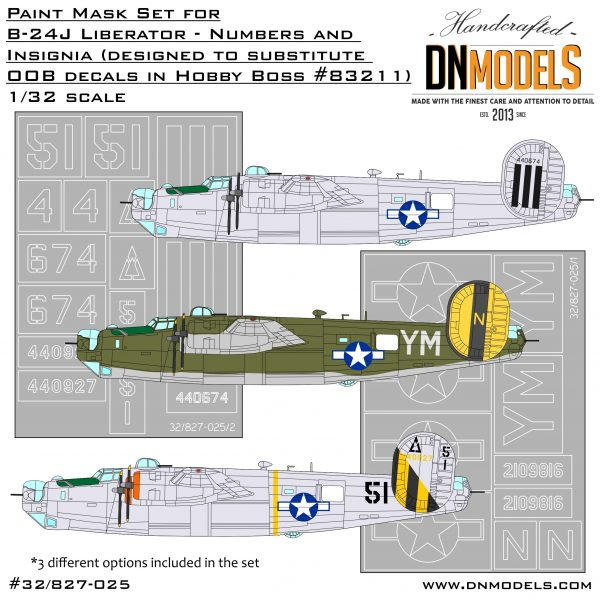 B-24J Liberator Insignia and Numbers Paint Mask Set 1/32