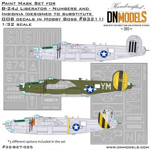 B-24J Liberator Insignia and Numbers Paint Mask Set 1/32 dn models masks for scale models