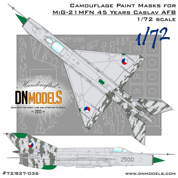 MiG-21MFN 45 Year Anniversary Caslav Air Base Czech Tiger Camouflage Paint Masks for 1/72