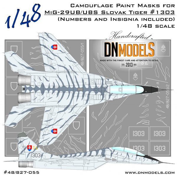 Slovak Tiger Camo MiG-29UB/UBS Fulcrum-B Paint Mask Set 1/48 dn models masks for scale models