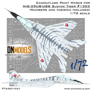 Tiger Camo MiG-29UB/UBS Fulcrum-B Slovak Air Force Paint Mask Set 1/72