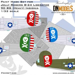 Jolly Rogers B-24 Liberator 90BG (Heavy) Insignia Paint Mask Set 1/32 dn models masks for scale models