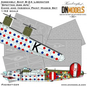"Assembly Ship B-24 Liberator ""Spotted Ass Ape"" Camo Insignia Paint Mask for Hobby Boss #83211 by DN Models Masks for Scale Models"