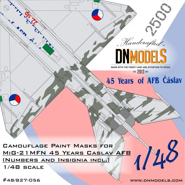 MiG-21MFN 45 Year Anniversary Caslav Air Base Czech Tiger Camouflage Paint Masks for 1/48