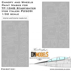 canopy wheels paint mask set tf-104G starfighter italeri 2509 dn models masks for scale models exterior interior