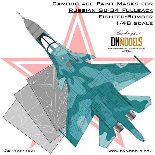 su-34 camouflage paint mask set 1/48 kitty hawk hobby boss dn models masks for scale models 1/48