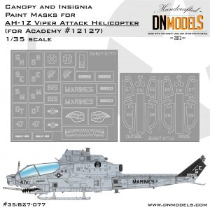 AH-1Z Viper Attack Helicopter Canopy & Insignia Paint Mask Set dn models masks for scale models