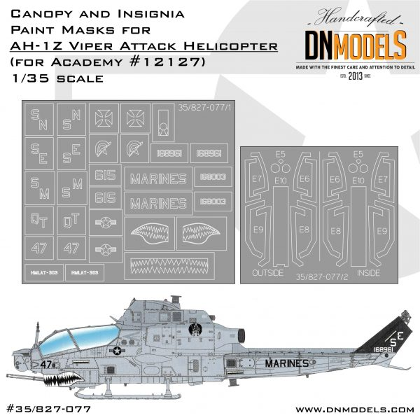 Cover AH-1Z Viper Canopy and Insignia (Academy 12127) 35th (site)