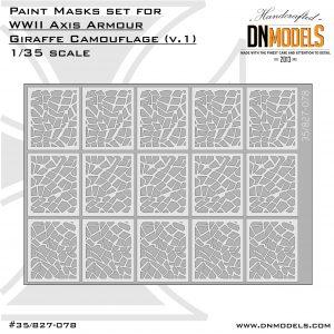 giraffe camo paint mask set ver.1 1/35 dn models masks for scale models