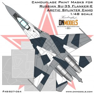 Cover Su-35 Arctic Splinter Camo 48th dn models masks for scale models