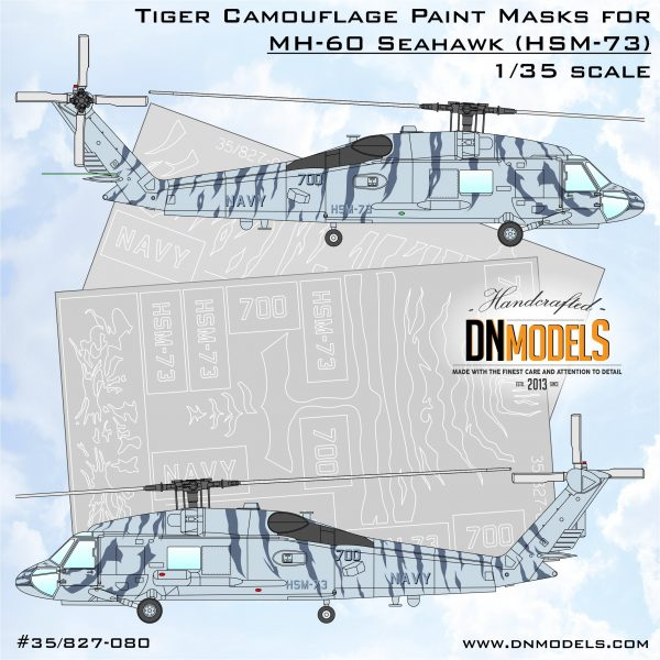 Tiger Camouflage Paint Mask Set for MH-60 SeaHawk HSM-73 1/35 dn models masks for scale models