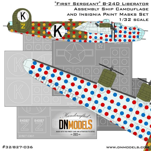 """First Sergeant"" Assembly Ship B-24D Liberator Camo and Insignia Paint Mask Set 1/32 dn models masks for scale models"