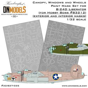 B-24D Canopy, Windows & Wheels Liberator Paint Mask Set 1/32 dn models masks for scale models