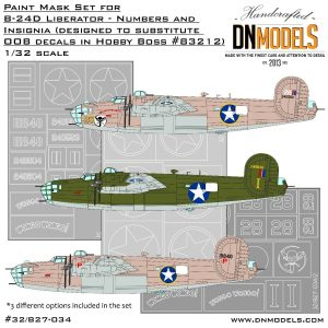 B-24D Liberator Insignia and Numbers Paint Mask Set 1/32 dn models masks for scale models