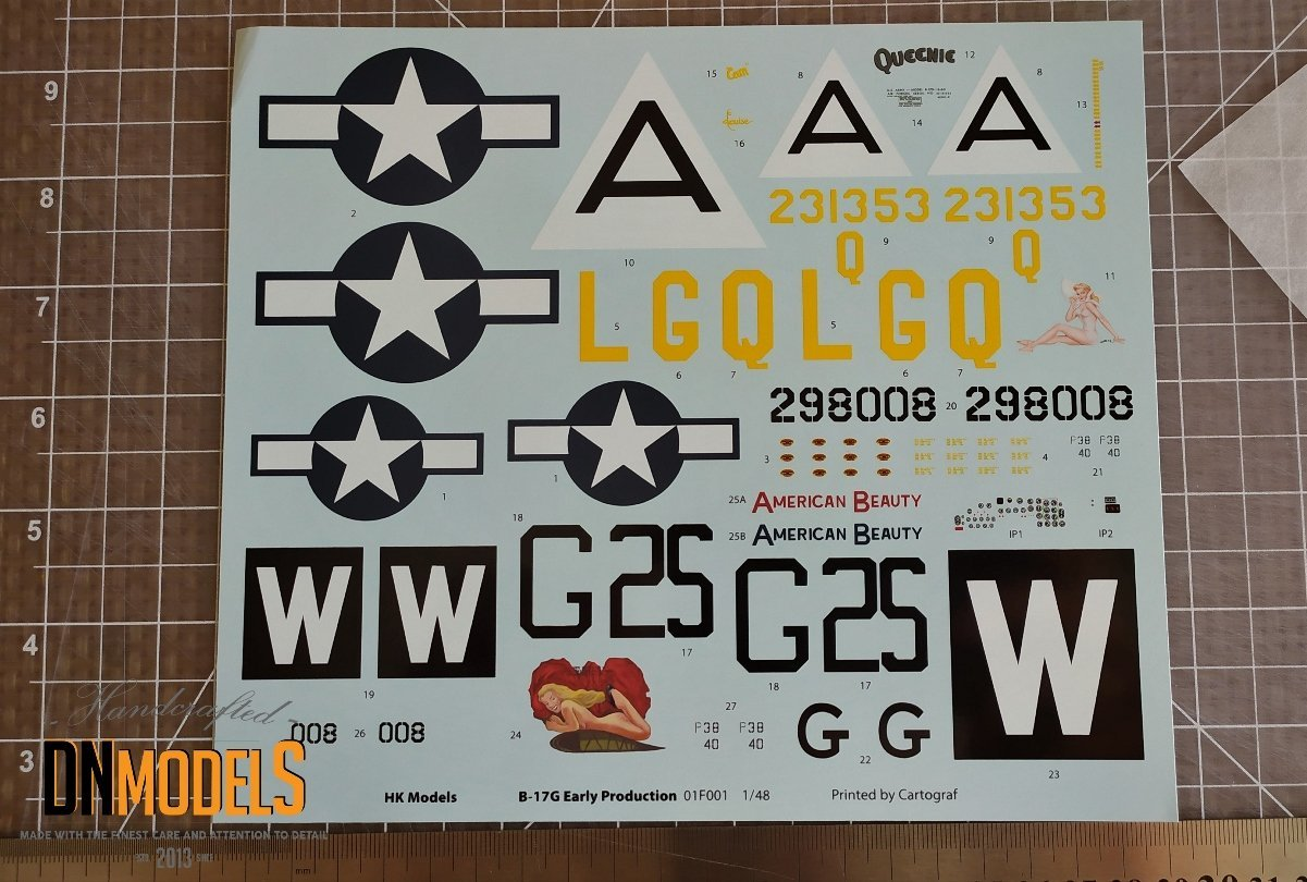 Boeing B-17G Early decals HK Models 1/48 DN Models Masks For Scale Models