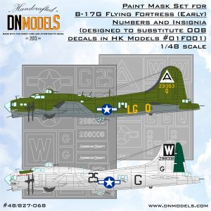 B-17G Flying Fortress (Early) Numbers and Insignia Paint Mask Set 1/48 masks for scale models dn models