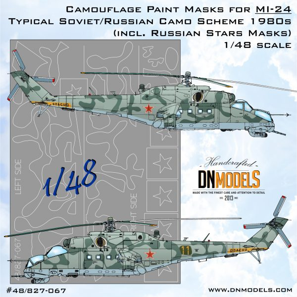 Mil Mi-24 Standard Soviet 1980s Camouflage scheme Paint Mask set DN Models masks for scale models