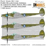 Cover P-38 FG Lightning Insignia OOB (Tamiya 61120 – 2 options) + 1 option Bonus 48th scale (Site)
