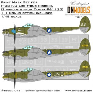p-38 lightning insignia ootb tamiya 61120 bonus option dn models masks for scale models