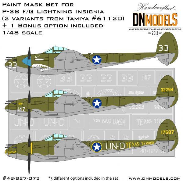 p-38 lightning insignia ootb tamiya 61120 bonus option dn models masks for scale models