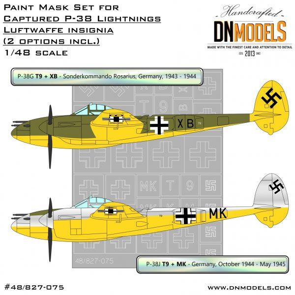Captured P-38 Lightnings - Luftwaffe Insignia Paint Mask Set 1/48 dn models masks for scale models