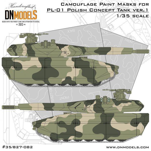 pl-01 polish light tank concept camouflage paint masks version I DN Models masks for scale models