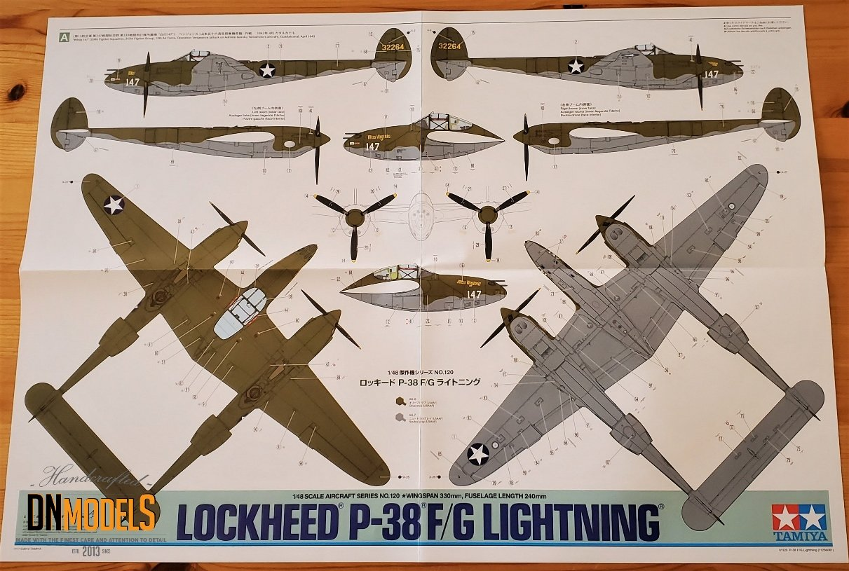 Tamiya P-38 Lightning #61120 review unboxing DN Models masks for scale models ver.1