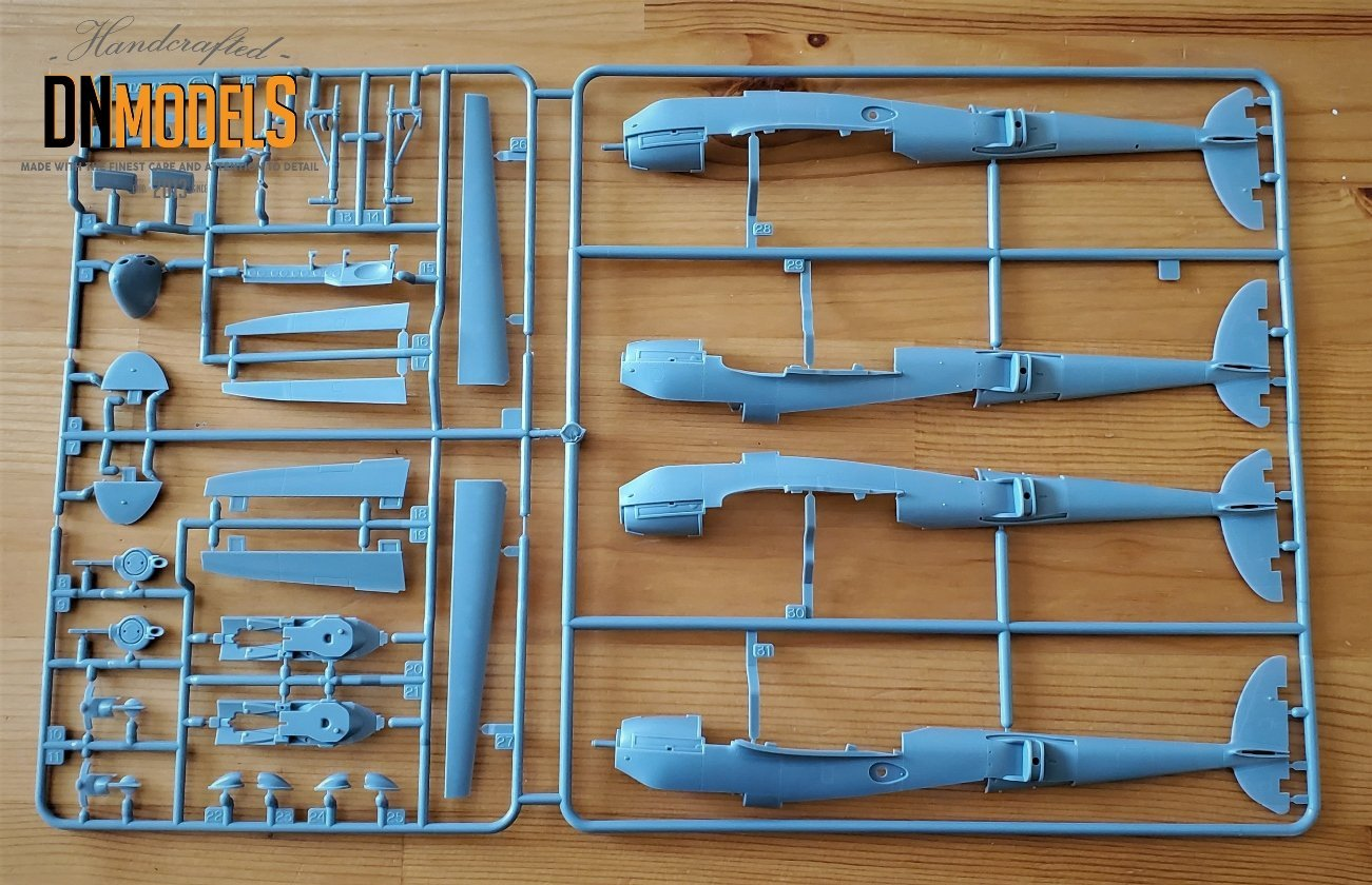 Tamiya P-38 Lightning #61120 review unboxing DN Models masks for scale models twin boom empennage