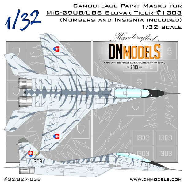 Slovak Tiger Camo MiG-29UB/UBS Fulcrum-B Paint Mask Set 1/32