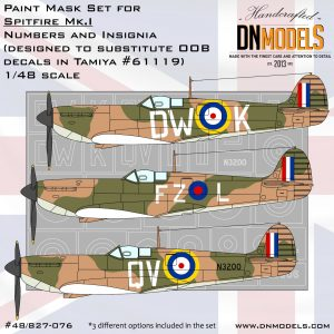 Spitfire Mk.I Numbers and Insignia Paint Mask Set for Tamiya #61119 1/48 dn models masks for scale models
