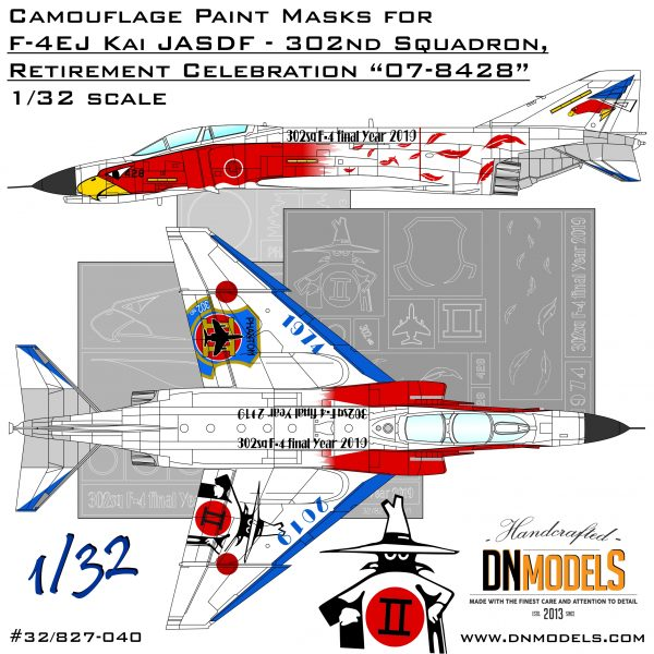 F-4EJ Kai White Eagle 302nd Squadron Anniversary Paint Mask Set dn models masks for scale models