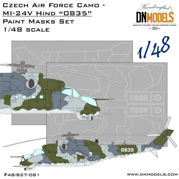 "Czech Air Force Camo Mi-24V Hind ""0835"" Attack Helicopter Paint Mask Set 1/48"