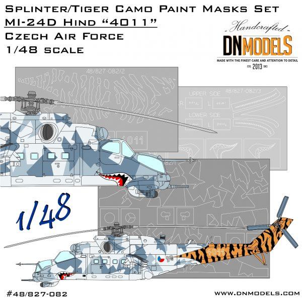 """Splinter/Tiger Camo Mi-24 Hind """"4011"""" Czech Air Force Paint Mask Set 1/48"""