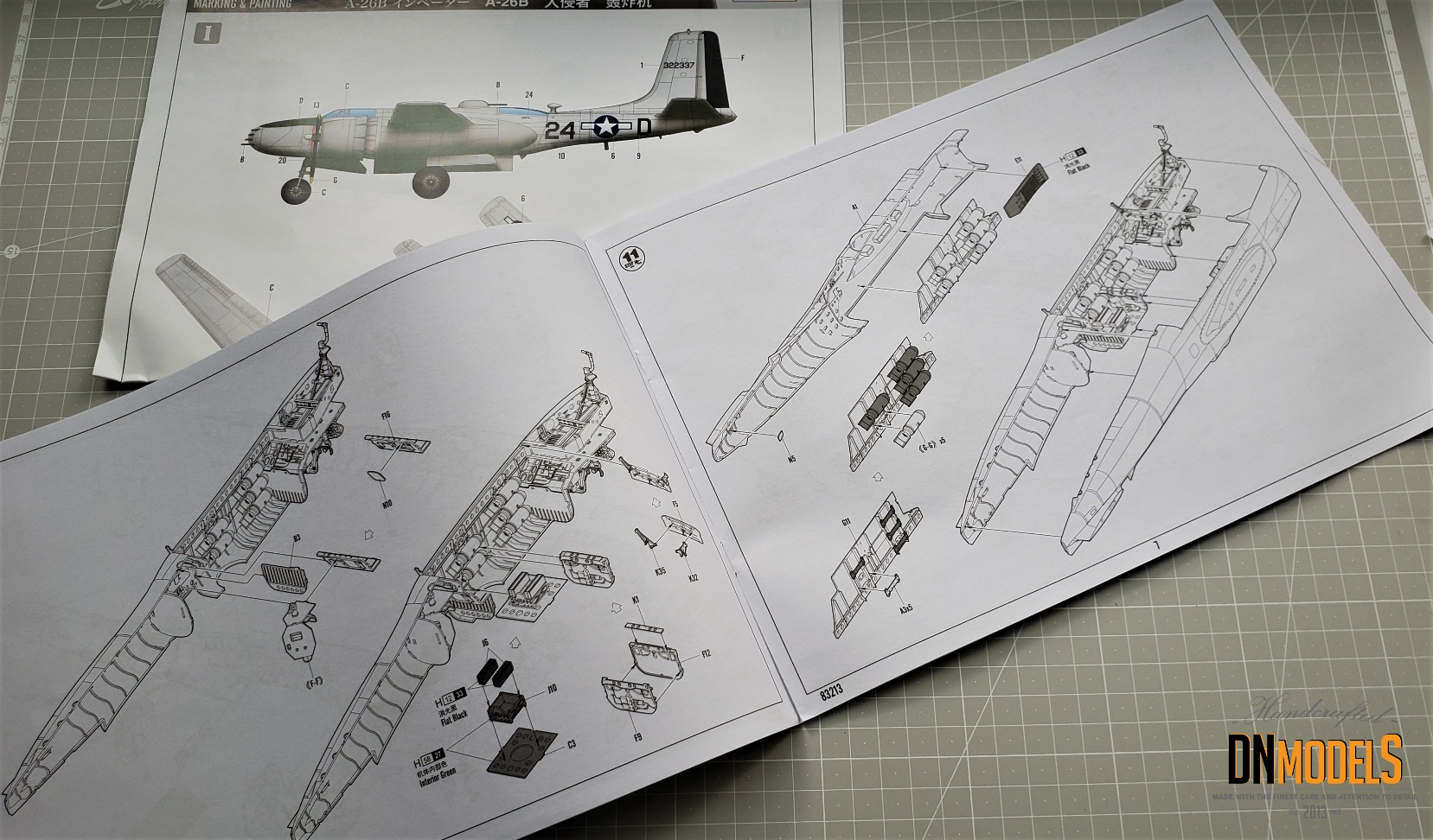 A26B Invader Hobby Boss 83213 review dn models masks for scale models instruction sheet