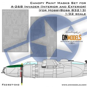 Canopy Paint Mask Set for A-26B Invader Interior & Exterior 1/32 dn models masks for scale models