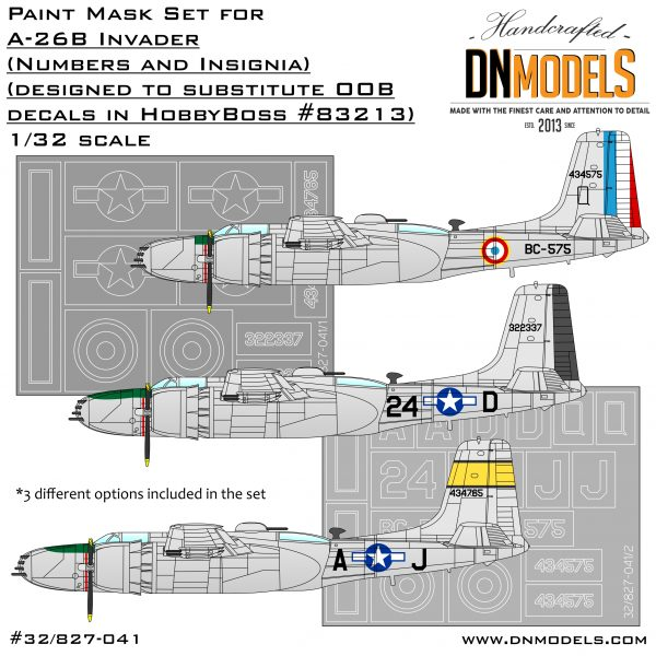 a-26b Invader 83213 dn models masks for scale models 32/82-041