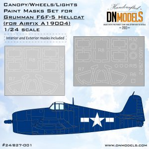 Grumman F6F-5 Hellcat Canopy, Wheels, Lights Paint Mask Set - Interior & Exterior 1/24 dn models masks for scale models