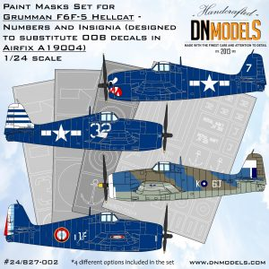 grumman hellcat f6f-5 airfix a19004 insignia numbers mask set dn models masks for scale models 24/827-002
