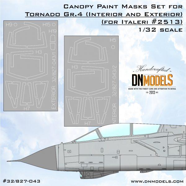 Tornado GR.4 Italeri #2513 canopy paint masks dn models interior exterior mask set 32/827-043